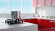 red kitchen with pot and gas stove 3d rendering