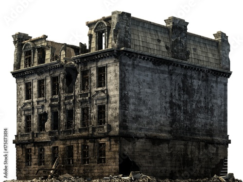 Naklejka Ruined Building Isolated On White 3D Illustration