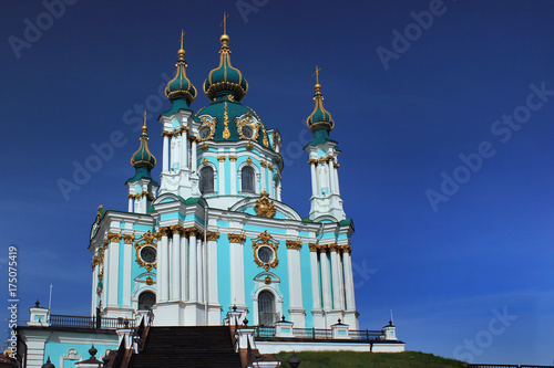 Foto op Canvas Kiev St Andrew's Church in Kiev, Ukraine, designed by Italian architect Bartolomeo Rastrelli and constructed in 1754