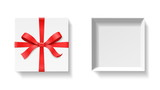 Empty open gift box with red color bow knot, ribbon isolated on white background. Happy birthday, Christmas, New Year, Wedding or Valentine Day package concept. Closeup Vector illustration 3d top view - 175075840