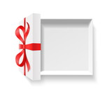 Empty open gift box with red color bow knot, ribbon isolated on white background. Happy birthday, Christmas, New Year, Wedding or Valentine Day package concept. Closeup Vector illustration 3d top view - 175075857