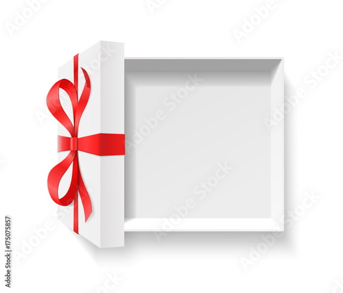 empty open gift box with red color bow knot ribbon isolated on white background