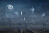 Cabin and a graveyard in a spooky forest at night - 175080687