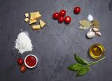 food ingredients on the black background - 175082037