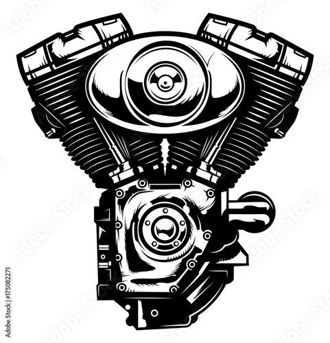 Monochrome Illustration Of Motorcycle Engine Isolated On White