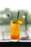 A glass of fresh cold lemon tea with ice