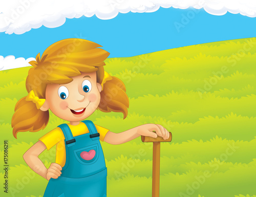 cartoon scene with happy girl working on the farm - standing and smiling / illustration for children - 175086291