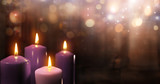 Advent Candles In Church - Three Purple And One Pink As A Catholic Symbol And Bokeh Lights - 175086688