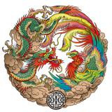 oriental dragon and phoenix - 175088232