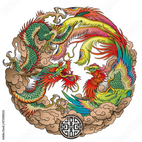 oriental dragon and phoenix