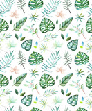 Watercolor tropical seamless pattern on a dark background. Pattern with tropical leaves and branches. Perfect for design wedding cards,cover,wallpapers,patterns,invitations. - 175091035