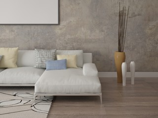 Mock up a bright living room with an original coffee table.