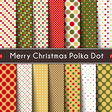 Fourteen Merry Christmas Polka Dot. Vector Seamless Patterns - 175098036