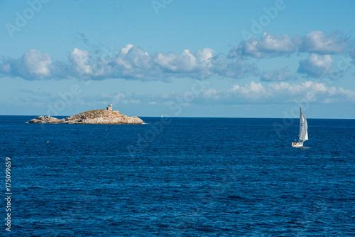 Spoed canvasdoek 2cm dik Toscane Veduta panoramica dello Scoglietto presso isola d'Elba