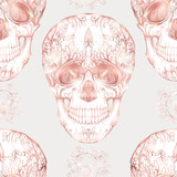 Seamless pattern, background with human skull in rose gold colors.