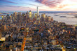 New York City Manhattan at sunset aerial view