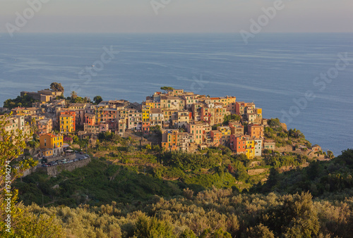 Poster Liguria Picturesque view of village in Cinque Terre National park on Liguria coastline, Italy