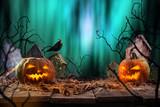 Halloween pumpkins on wooden planks. - 175105403
