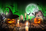 Halloween pumpkins on wooden planks. - 175106018