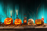 Halloween pumpkins on wooden planks. - 175106274