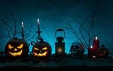 Halloween pumpkins on wooden planks. - 175106420