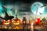 Halloween pumpkins on wooden planks. - 175106486