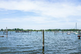 City Island harbor with boats and old, decaying pier - 175106497