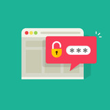 Password notification bubble with open lock in browser widow vector illustration, flat carton style login or signin icon - 175106829