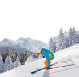 Skier skiing downhill in high mountains - 175106874