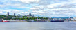 Cityscape and skyline of Quebec City with Saint Lawrence river and boats