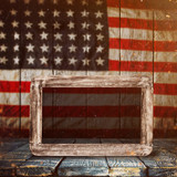Empty wooden table over vintage USA flag background. - 175113621
