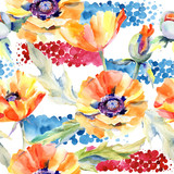 Wildflower poppy flower pattern in a watercolor style. Full name of the plant: poppy . Aquarelle wild flower for background, texture, wrapper pattern, frame or border. - 175114453
