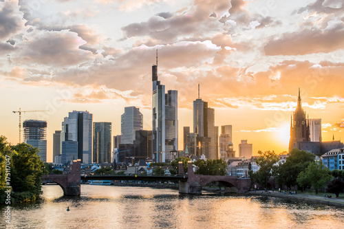 Leinwanddruck Bild Frankfurt at the Main skyline at sunset, Germany