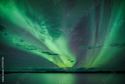 Canvas Noorderlicht Polarlichter über einem See