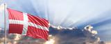 Denmark flag on blue sky. 3d illustration