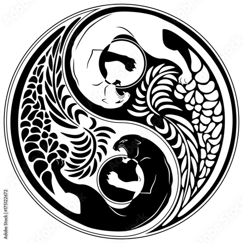 Tuinposter Draw Yin Yang Wild Cat Black and White Tattoo Style