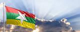Myanmar flag on blue sky. 3d illustration