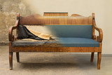 Antique Biedermeier style sofa before and after restoration, in a single photo - 175125017