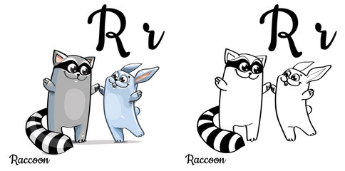 Raccoon. Vector alphabet letter R, coloring page