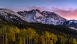 Sunset over Autumn forest with mountain background in Telluride