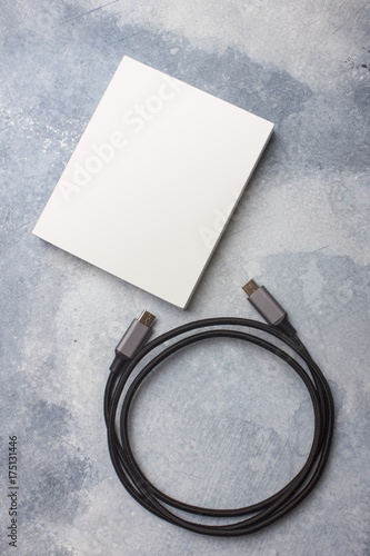 Empty packing template for type C cord. Texture background Poster