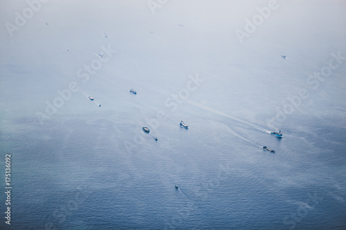 Ships in Straits of Singapore from the height Poster