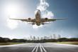Flugzeug landet auf Airport