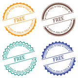 Free badge isolated on white background. Flat style round label with text. Circular emblem vector illustration. - 175139421