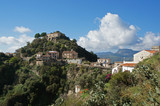 Landscape with Godfather's (Corleone) village and surrounding hills - Savoca in Italy