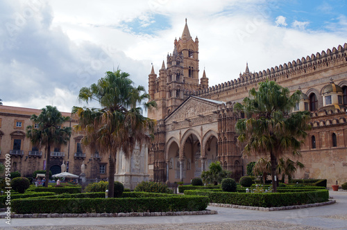 Spoed canvasdoek 2cm dik Palermo Palermo Cathedral surrounded by palms of green square, Sicily, Italy