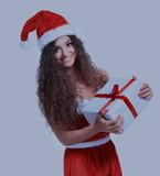 Christmas Santa isolated woman portrait hold christmas gift. - 175146430