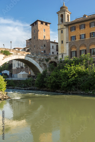 Amazing view of Castello Caetani, Tiber River and Pons Fabricius in city of Rome Poster