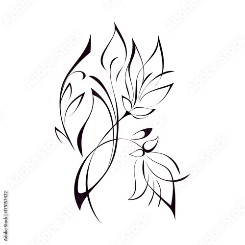 ornament 134. stylized flower in black lines on a white background