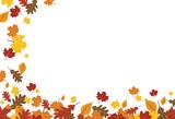 Bright Falling Fall Autumn Leaves Horizontal Border 1 - 175158409